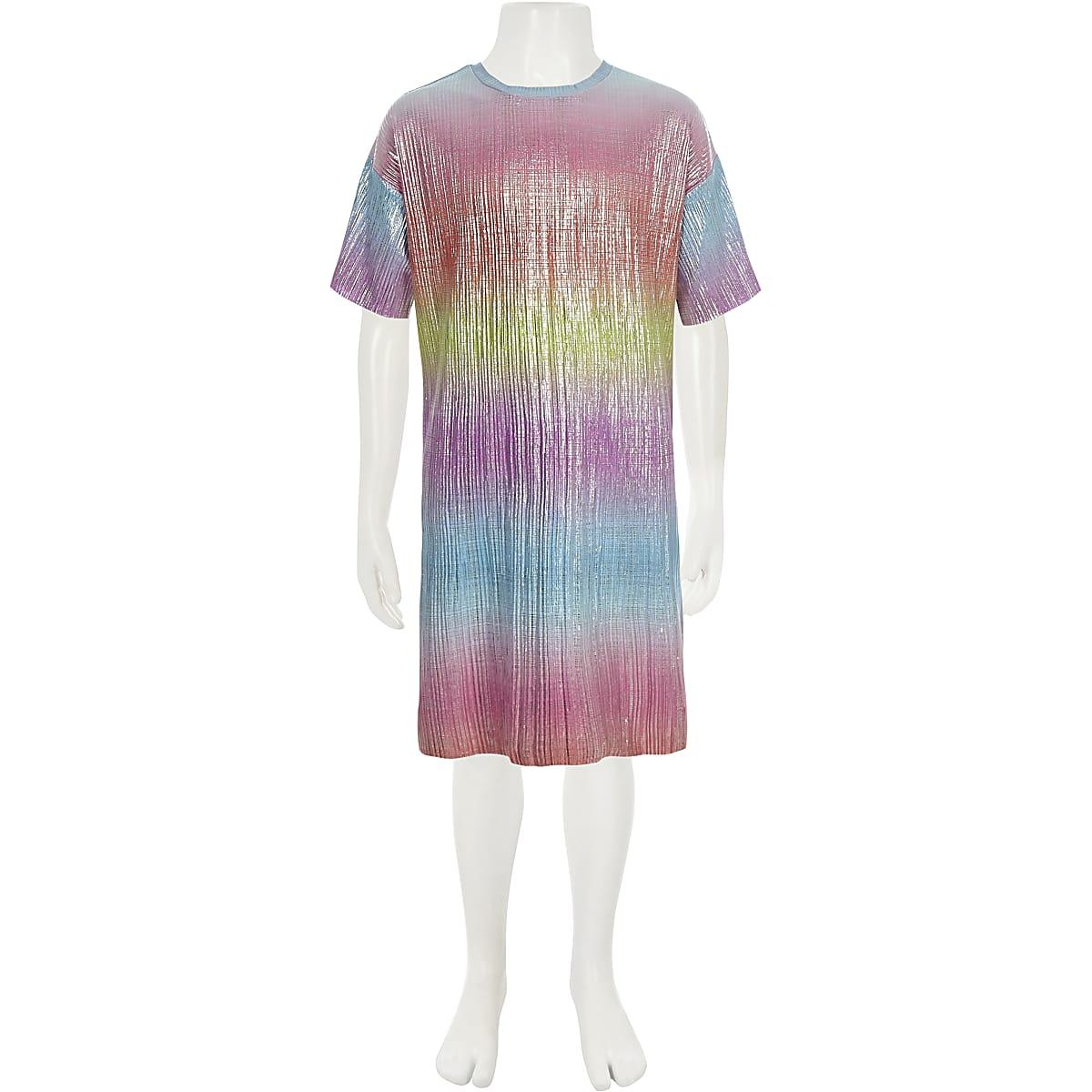d5fcbdd32e10 Girls pink rainbow plisse T-shirt dress - Day Dresses - Dresses - girls