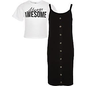 Robe t-shirt 2 en 1 noire pour fille