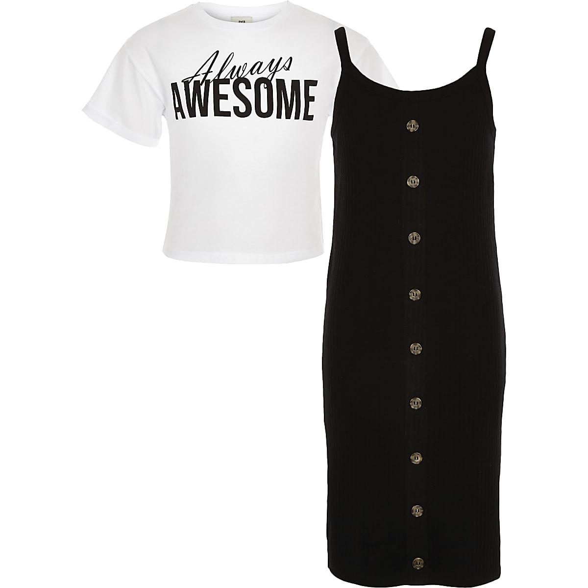 Girls black 2 in 1 T-shirt dress