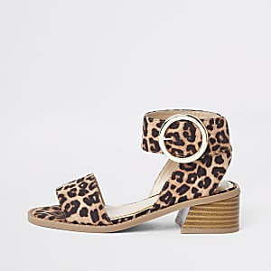 55211be94fcc Girls brown leopard print block heel sandals