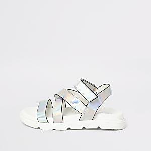 Sandales argentées effet hologramme à brides croisées pour fille