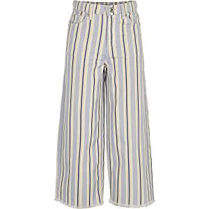 Girls stripe wide cropped leg Alexa jeans