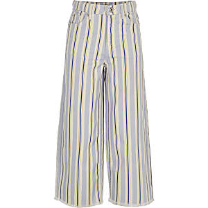 Girls blue stripe wide leg jeans