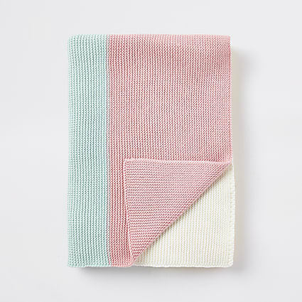 Baby multi colour block knitted blanket