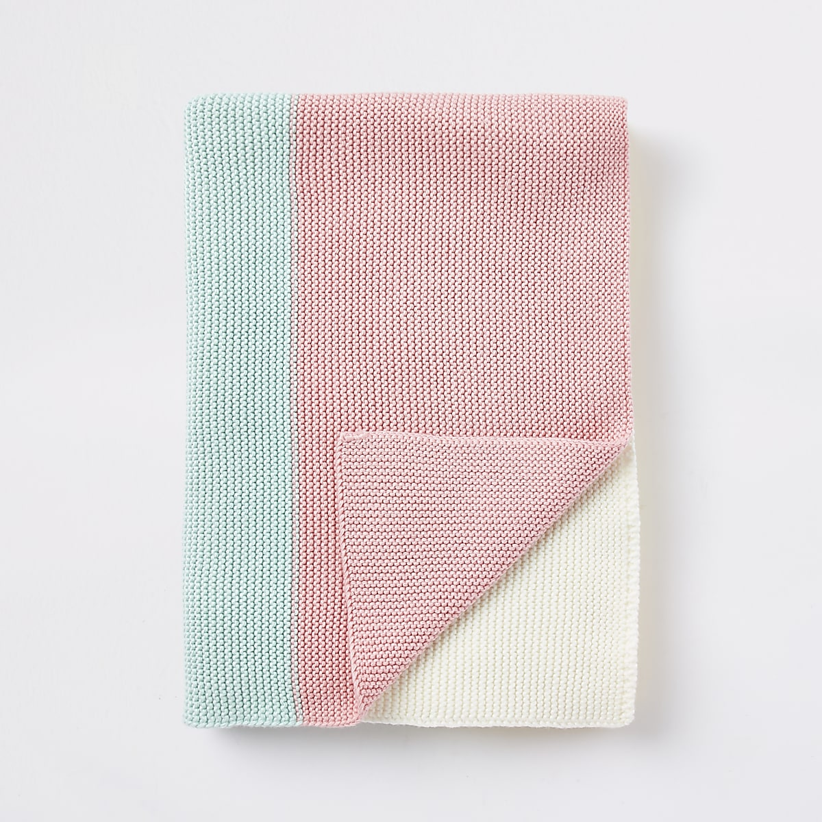 Baby multi color block knitted blanket