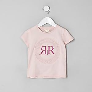 Mini - Roze T-shirt met RI-logo in reliëf voor meisjes