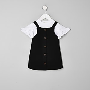 Mini - Outfit met zwarte overgooier voor meisjes