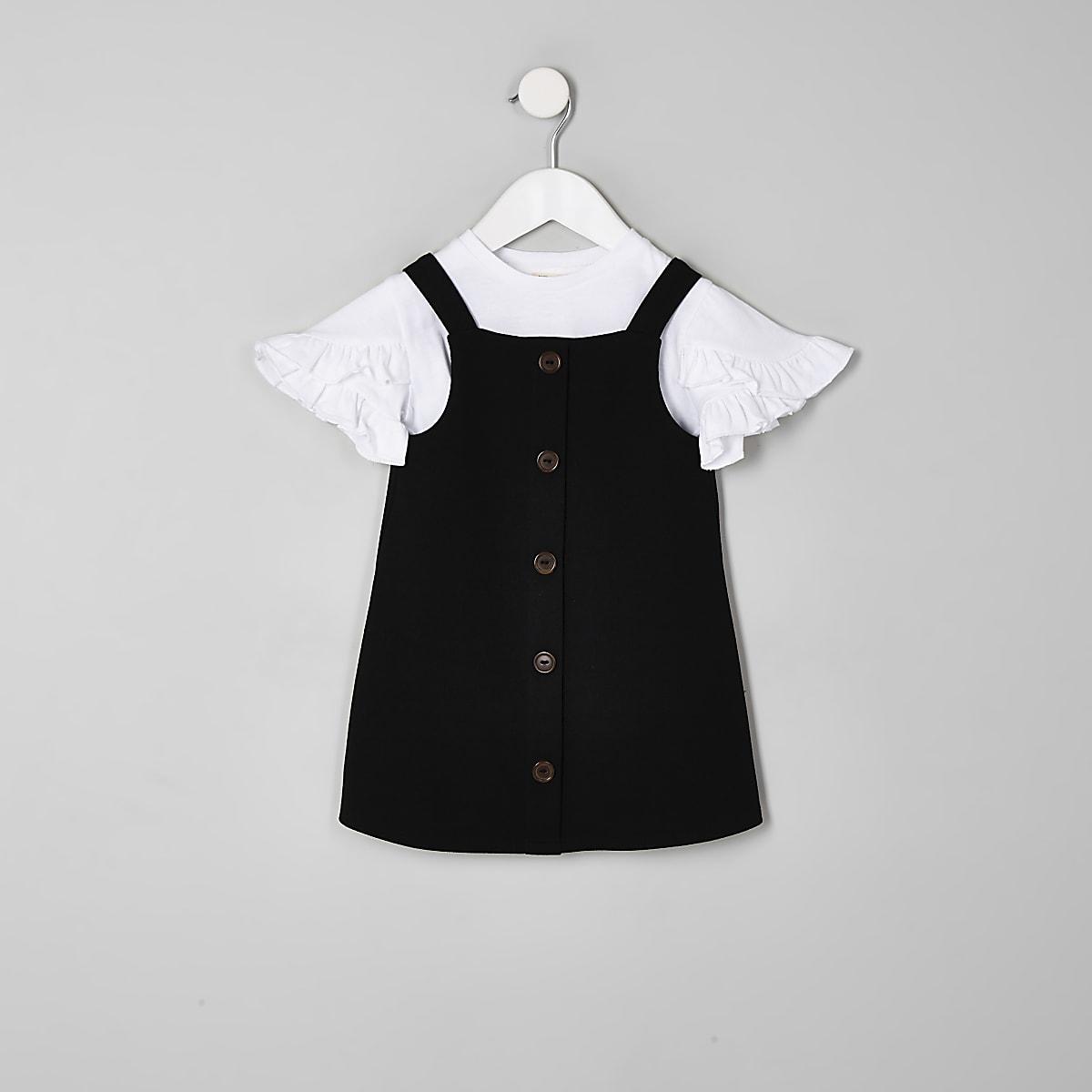 Mini girls black pinafore dress outfit
