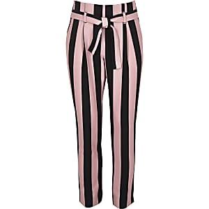 Pantalon fuselé rayé rose pour fille
