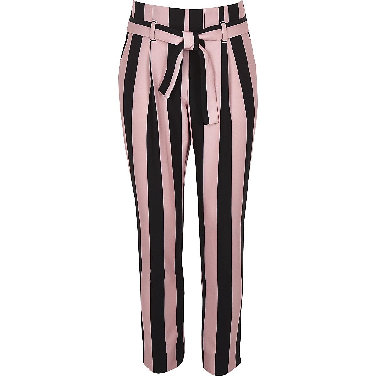 Girls pink stripe tapered trousers