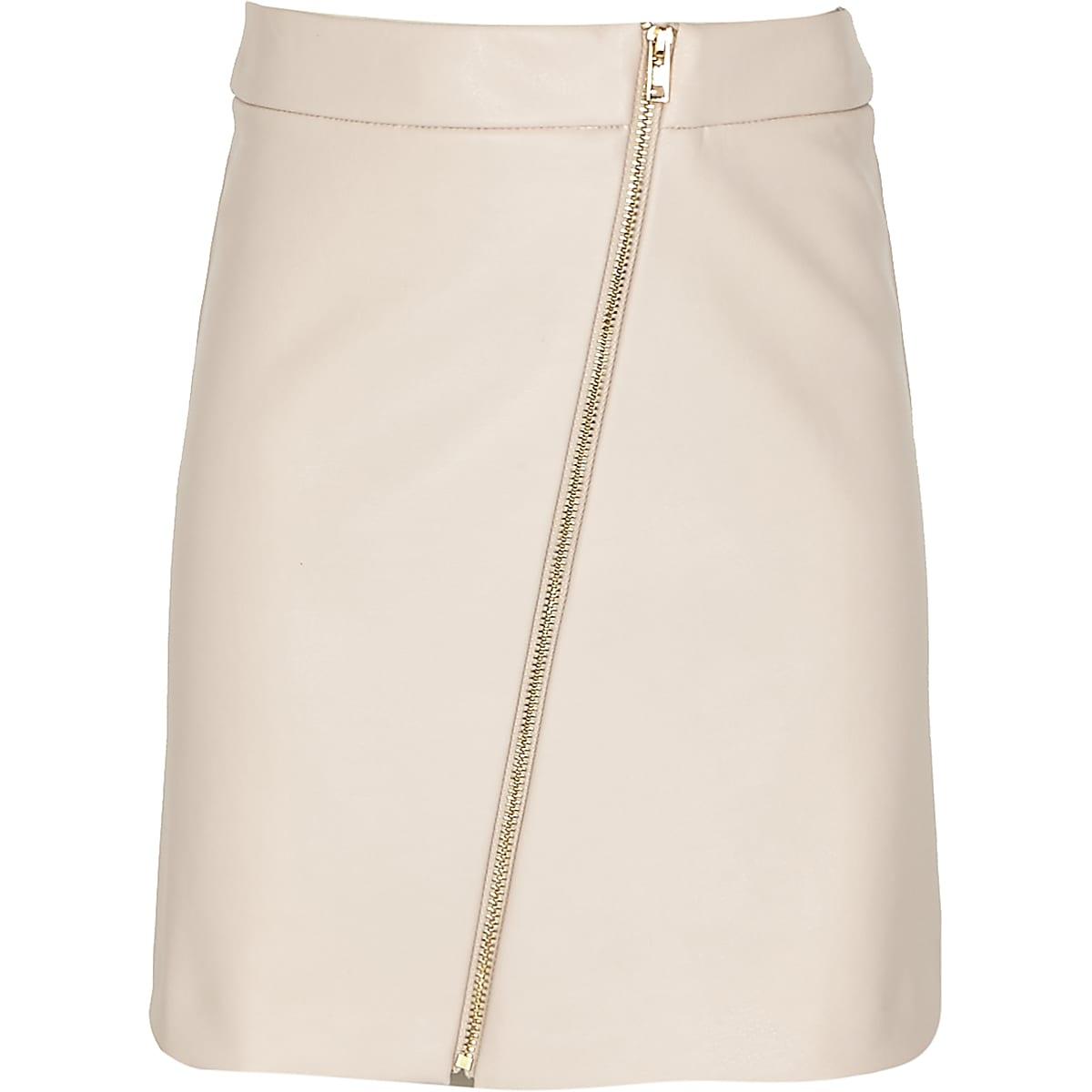 Girls pink asymmetric zip-up mini skirt