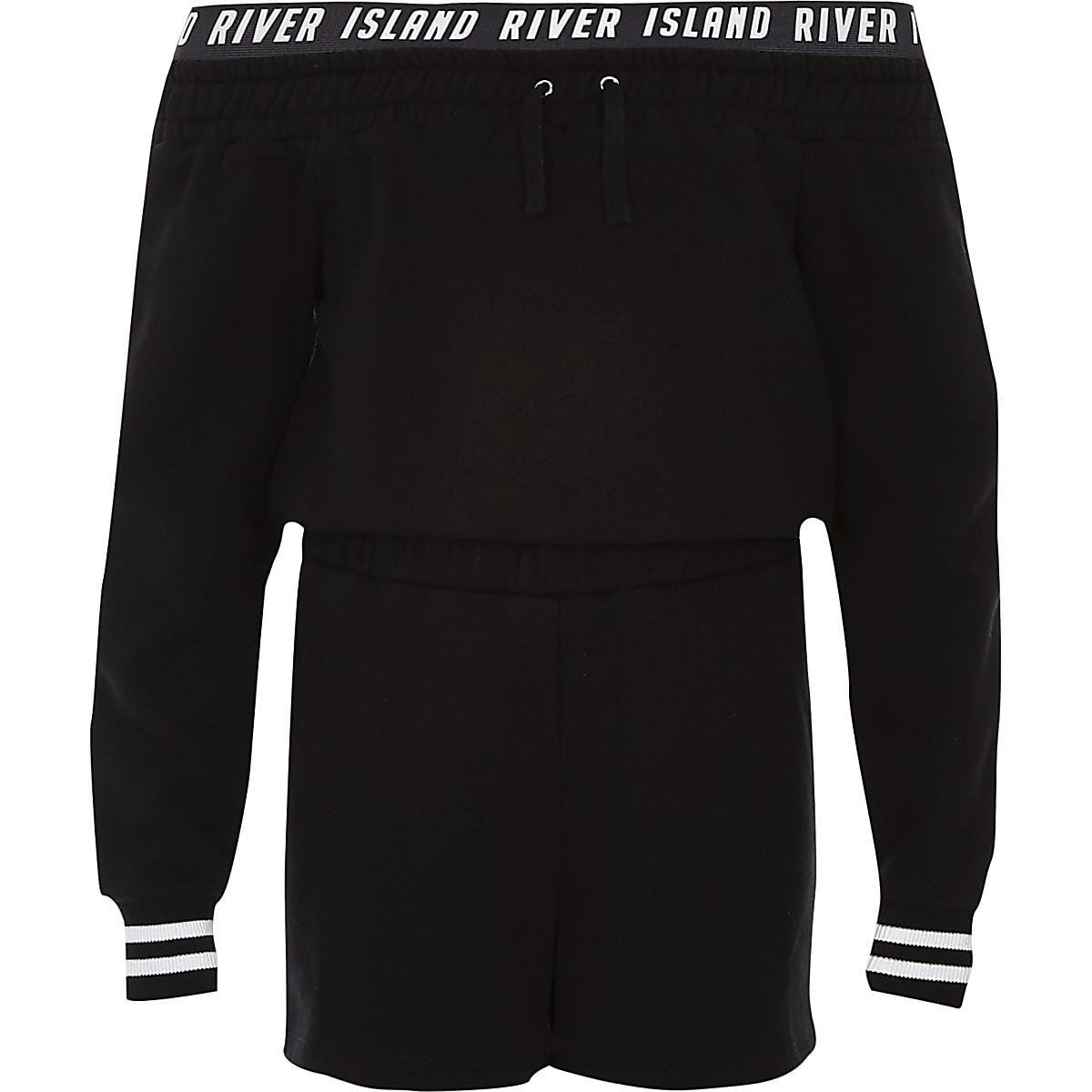Girls black RI bardot sweater romper