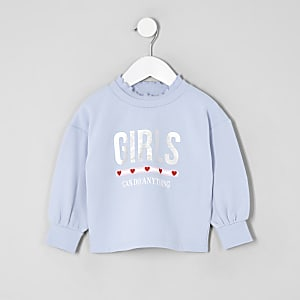 Mini girls blue print sweatshirt