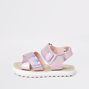 Roze holografische sandalen met stevige zool