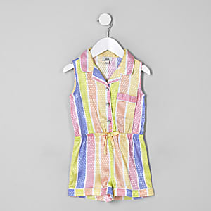 Mini girls yellow stripe pajama romper