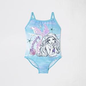 Mini - Blauw zwempak met Kleine zeemeermin-print voor meisjes