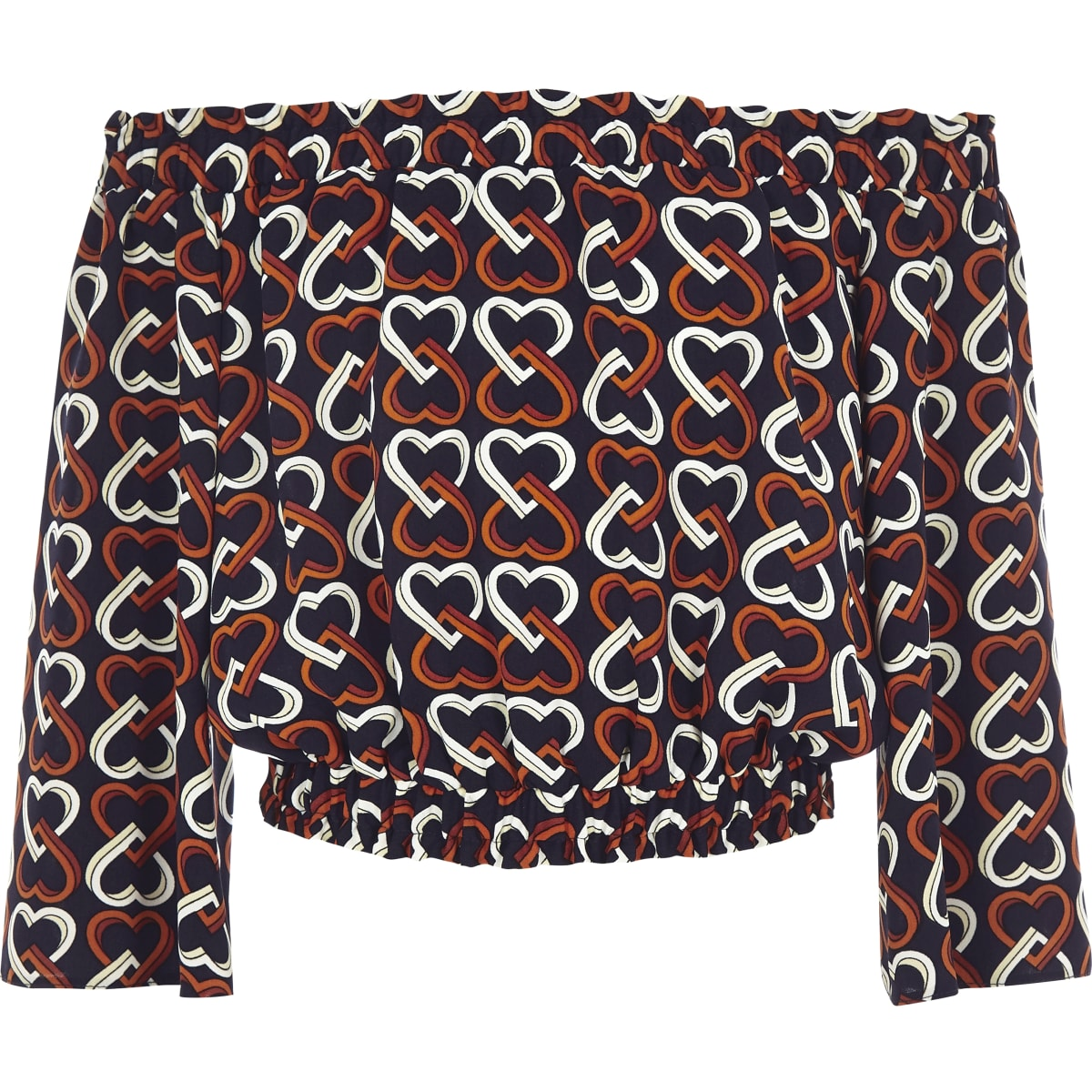 Girls navy bardot heart print top