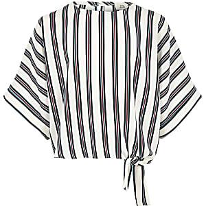 Witte gestreepte top met zijbandje voor meisjes