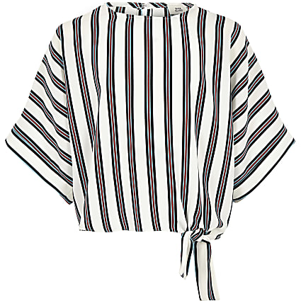 Girls white stripe tie side top