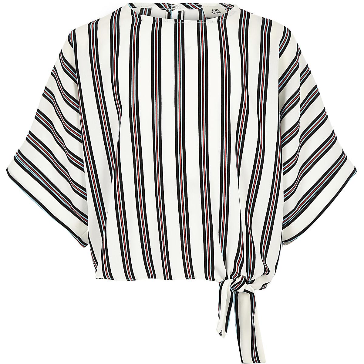 Girls white stripe tie side top