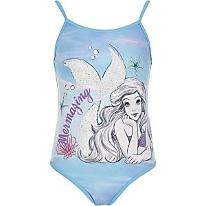 Blauw zwempak met De kleine zeemeermin voor meisjes