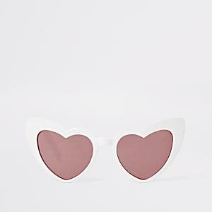 Weiße Katzenaugen-Sonnenbrille