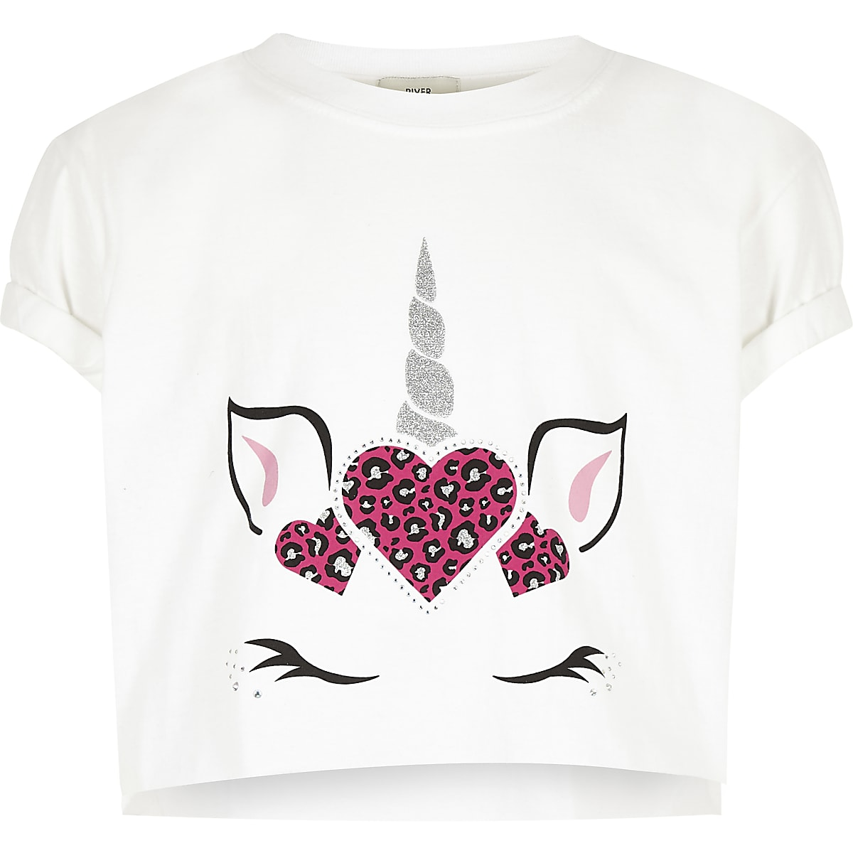 Girls white unicorn crop T-shirt