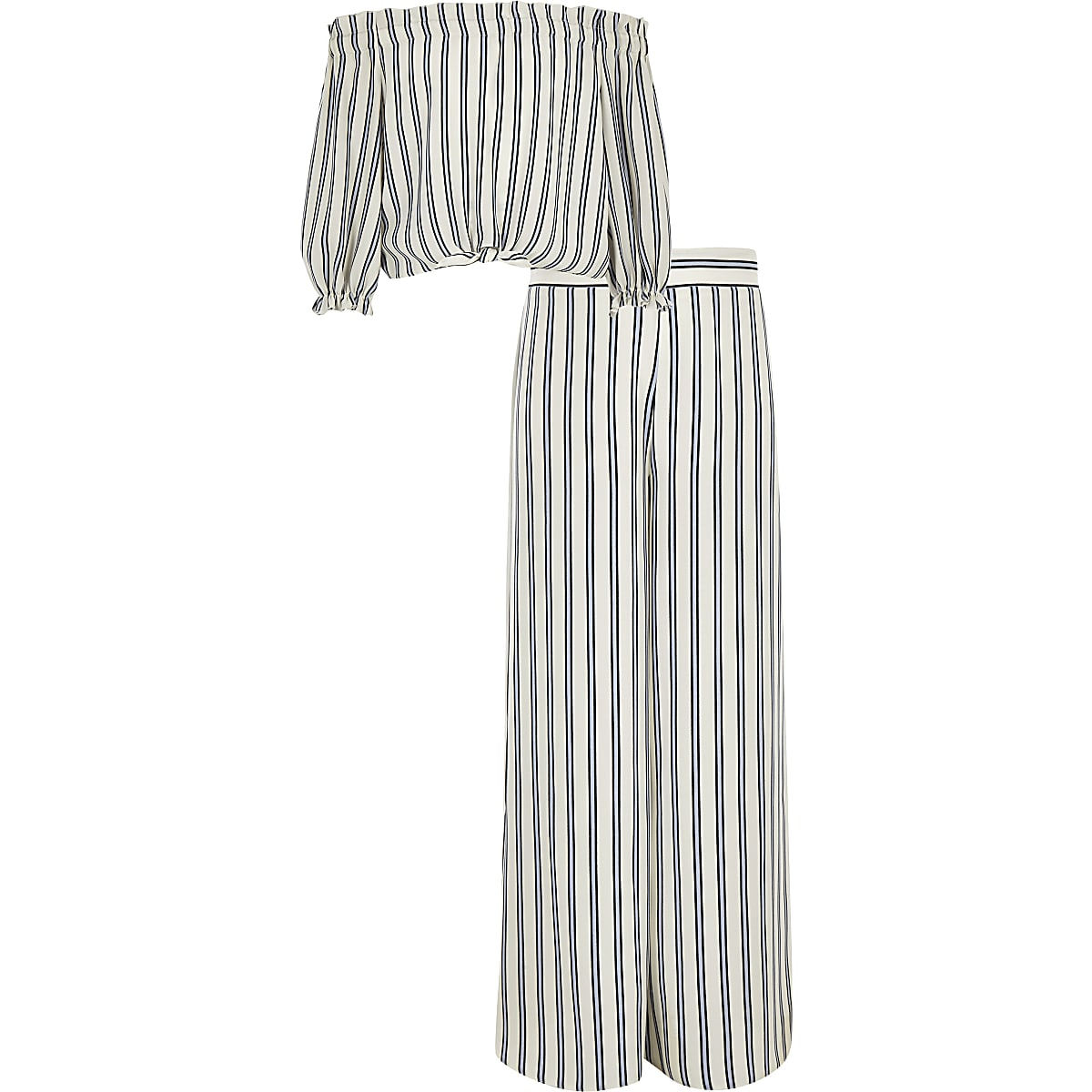 Girls blue stripe bardot tie front top outfit