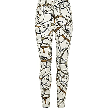 Girls cream Molly chain print jeggings