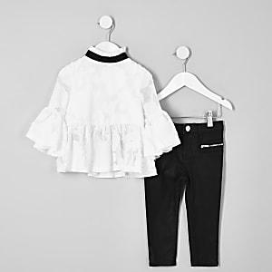 Mini - Outfit met crème jacquard blouse voor meisjes