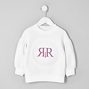 Mini girls white RI long sleeve sweatshirt