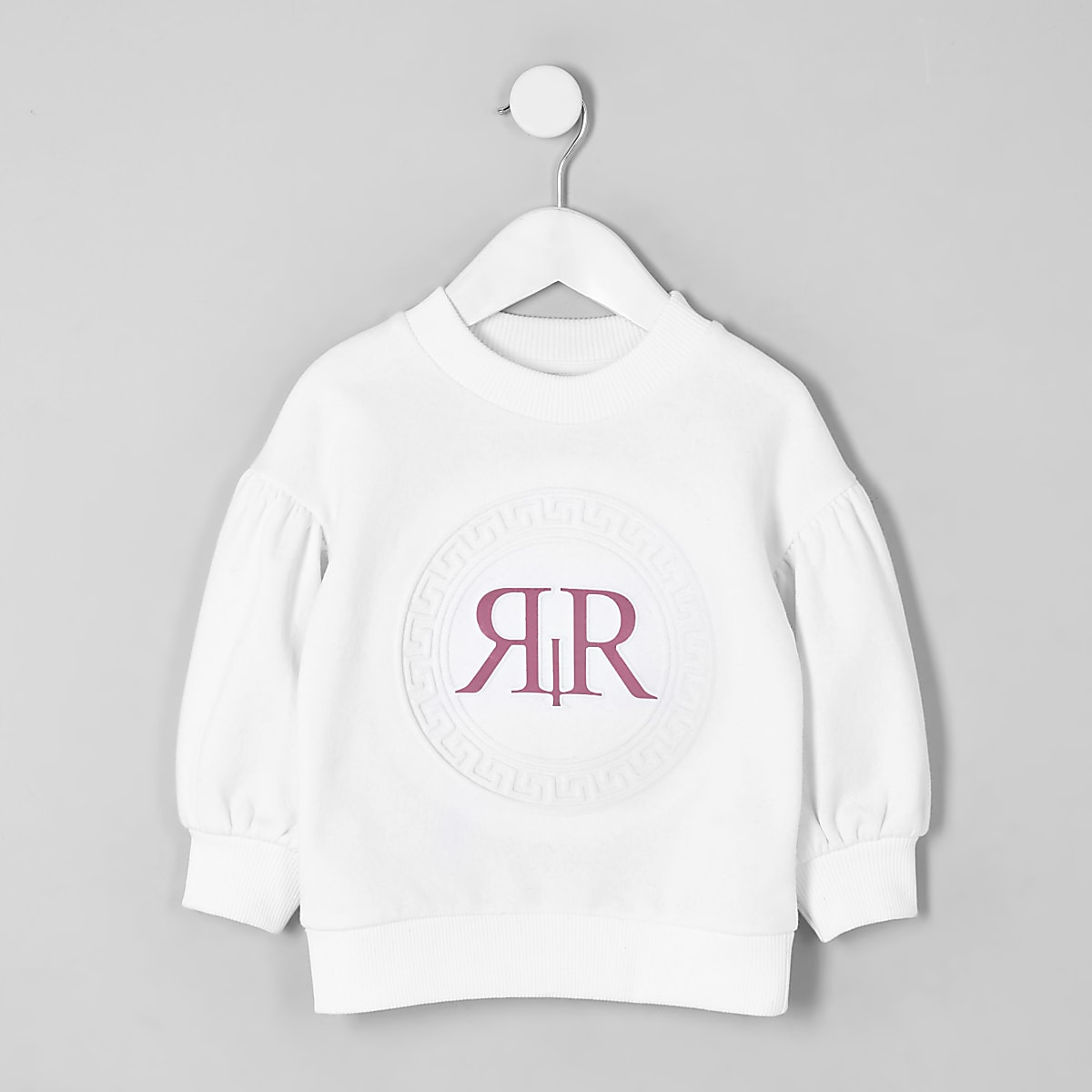 Mini - Wit sweatshirt met RI-logo en lange mouwen voor meisjes