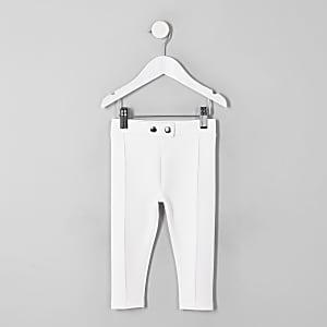Mini girls white ponte pants