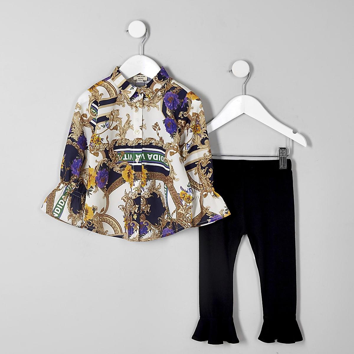 Mini girl cream scarf print shirt outfit