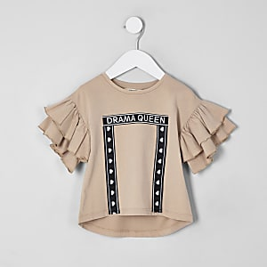 Mini girls cream 'Drama queen' frill T-shirt
