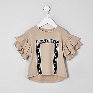 Mini - Crème T-shirt met 'Drama queen'-print en ruches voor meisjes