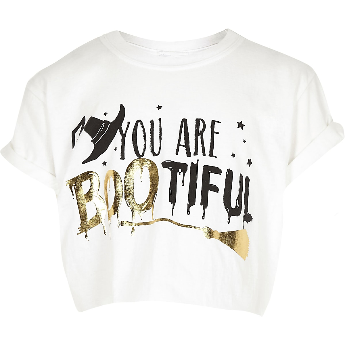 Girls white 'Bootiful' Halloween T-shirt