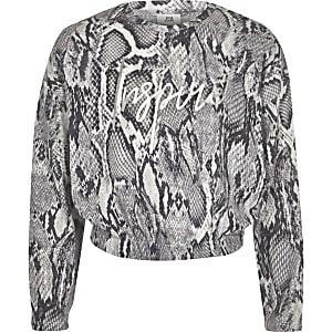 Grijs sweatshirt met slangenprint en 'Inspire'-print voor meisjes
