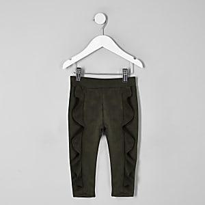 Mini girls khaki faux suede frill leggings
