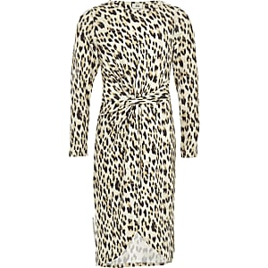 Bruine jurk met luipaardprint en knoop voor meisjes