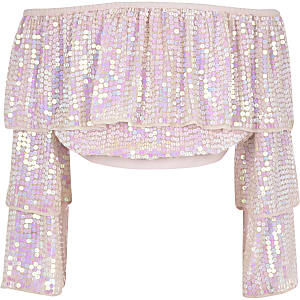 Girls pink sequin embellished bardot top