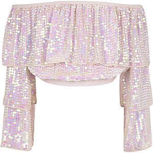 Girls pink sequin embellished bardot top