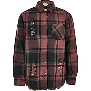 Chemise à carreaux rouge avec empiècement à sequins pour fille