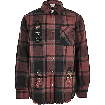 Girls red check sequin patch shirt