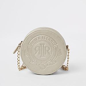 Girls gold RI embossed circle cross body bag