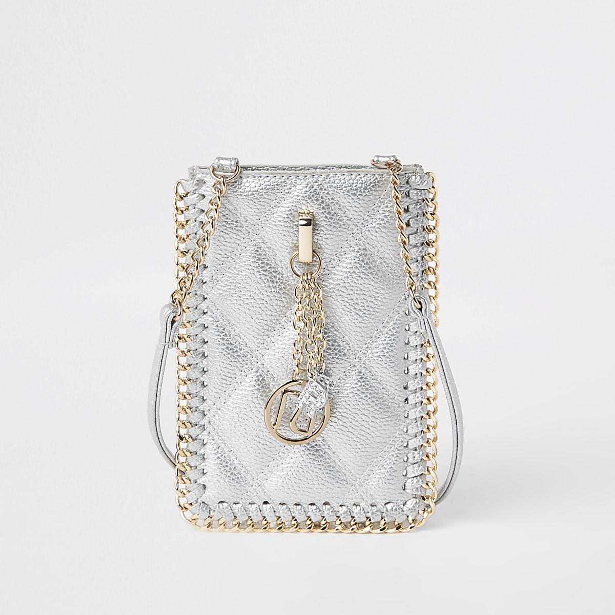 Girls silver mini cross body pouch bag