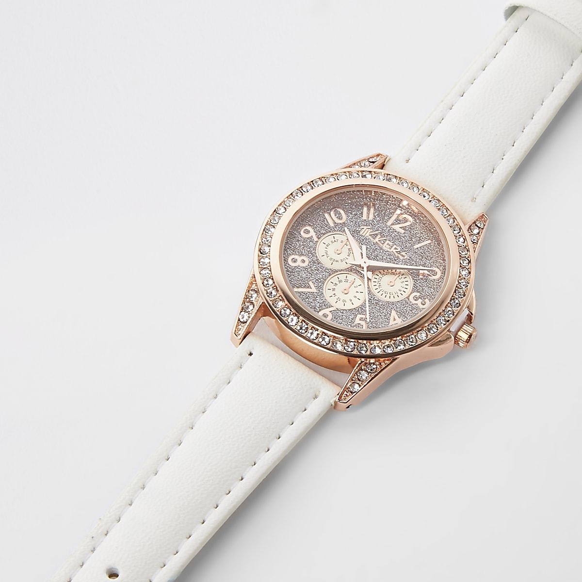 fbfd4f89e29cd Girls white rose gold diamante watch