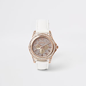 Girls white rose gold rhinestone watch