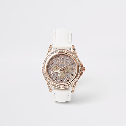Girls white rose gold diamante watch