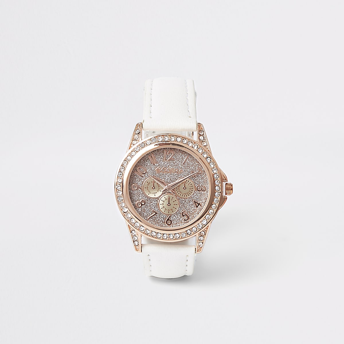 Girls white rose gold diamante watch